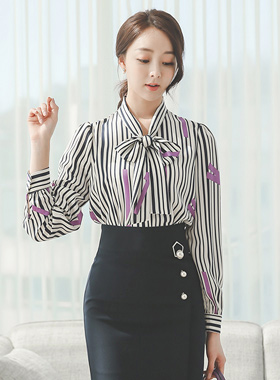 Color Stick Ribbon Tie Blouse
