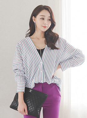 Color Stripe Sheep V Shirt