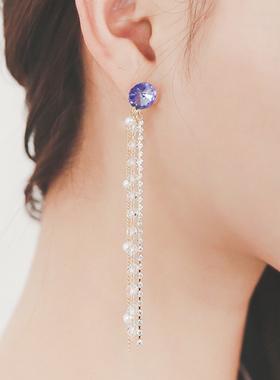 Violet cubic olive earring