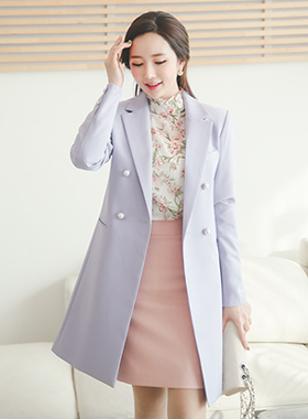 Double pearls Retail color long jacket