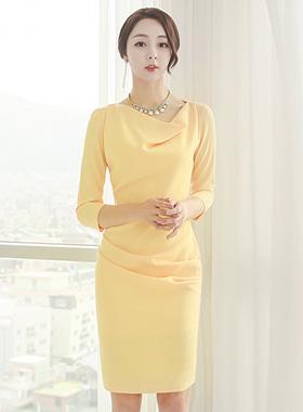 Cowl Neck drape Shirring Dress