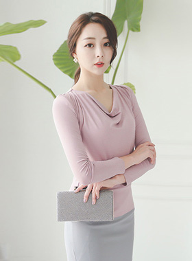 feminine cow neck silky top