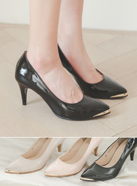Gold Tip Enamel Pumps Hill