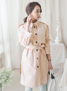 pastel cotton single Trench Coat