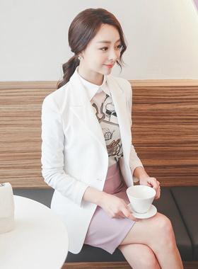 Linen Texture Formal One Button Jacket