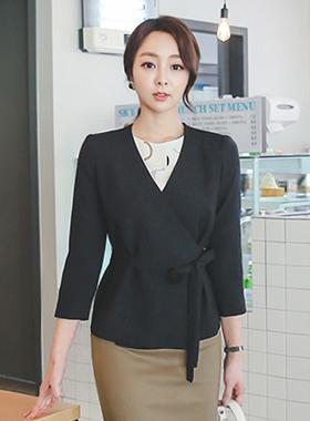 minimal linen textured wrap jacket