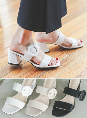 Buckle Strap Mule Slippers
