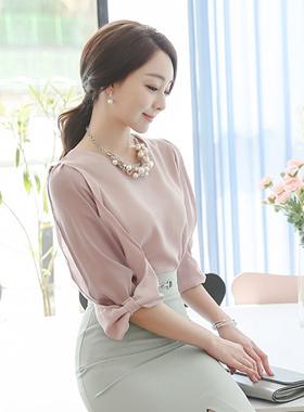 feminine double chiffon sleeve Blouse