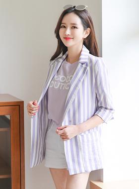 Trendy Stripe Cotton Jacket
