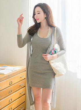 Cooling Slab Corrugated Dress & Cardigan