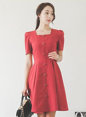 Square Neck Button Line Flare Dress