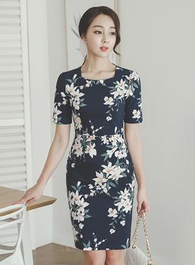 Flora Cotton span Square Neck Dress