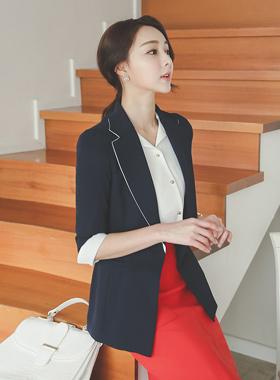 simple color sleeve single Jacket