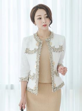 Coco Gold Button Fringe Linen Jacket