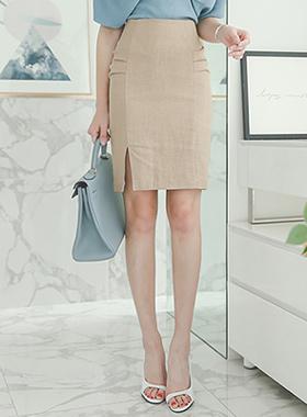 Side Shirring Slit Linen Skirt
