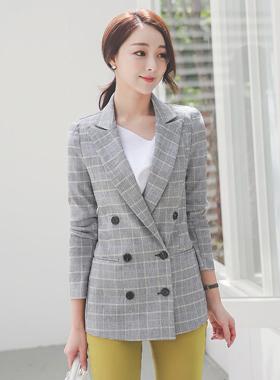 Summer Double-button Linen check jacket