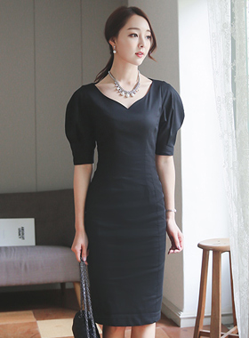 Lady Heart Neck Linen Dress