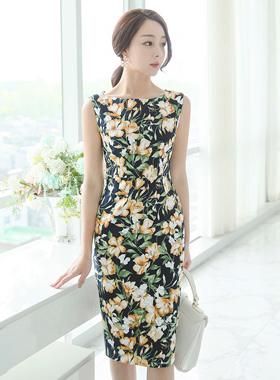 Freesia Cotton span boat neck dress