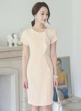 feminine Ruffle Tulip Sleeve Dress