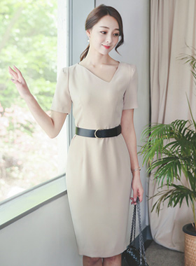 Belt Dress Cutting Square Neck