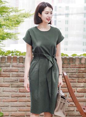 string Folded Linen Dress