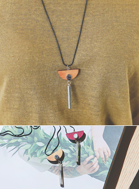 Wood stone Long Necklace