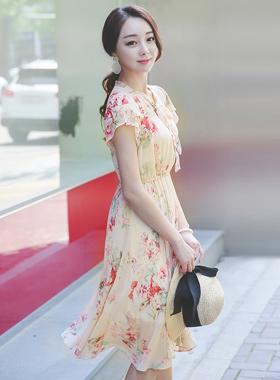 Misty Flower Chiffon Dress