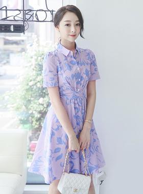 leaf Stripe Shirt flare dress