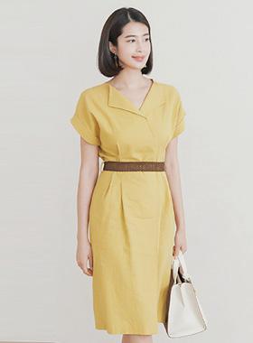 Weaving Belt Open Collar Linen Dress