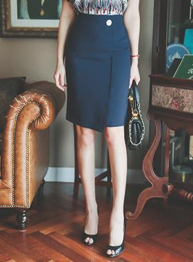 Fake Button Formal Wrap Skirt