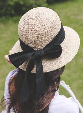 Audrey bowknot straw floppy hat