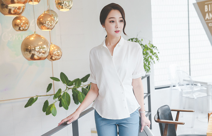 Career Kara Button Lab Blouse