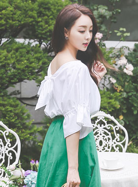 Romantic Loose Back Ribbon Blouse