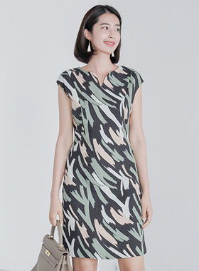 Brush Touch Heart Neck Linen Dress