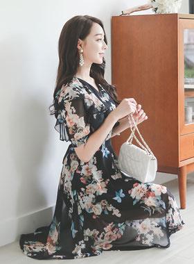 Serenade Ruffle Shoulder Flare Dress