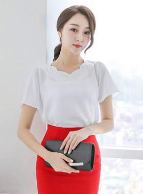 Twinkle cubic wave neck Necklace (Short Sleeve)