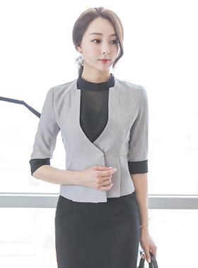 Square No collar Sleeve Shirt Short Jacket