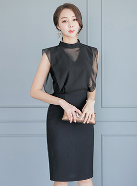 Sexy See-through look Chiffon Top Dress