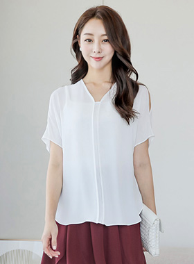 Bias Shoulder Top Long Blouse