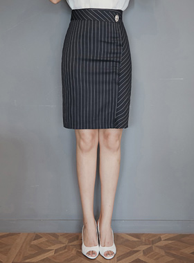 Formal Wrap Pinstripe Skirt