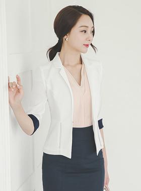 Sleeve color Pepper single short jacket