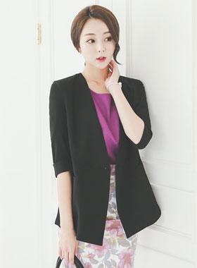 minimal No collar double Jacket
