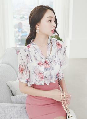 Pink Rose Ruffle Ribbon Tie Blouse