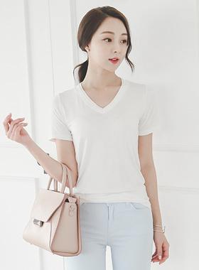 Basic double V-neck Short T shirts