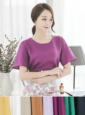 Color Linen Round Blouse
