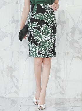 Palm Leaf Linen High Skirt