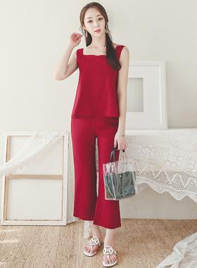 Linen Square Neck Sleeveless & Pants SET