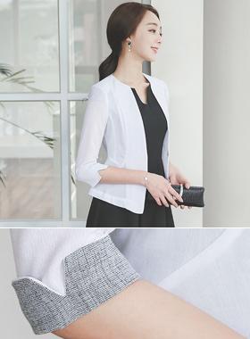 simple sleeve color Slim short jacket