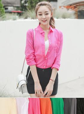 Vivid Color Slim Asa Shirt