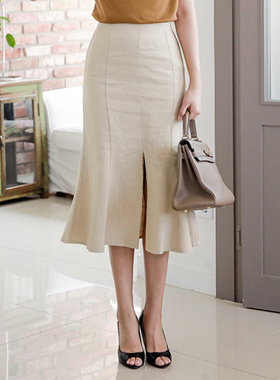 Deep Slit Mermaid Linen Skirt